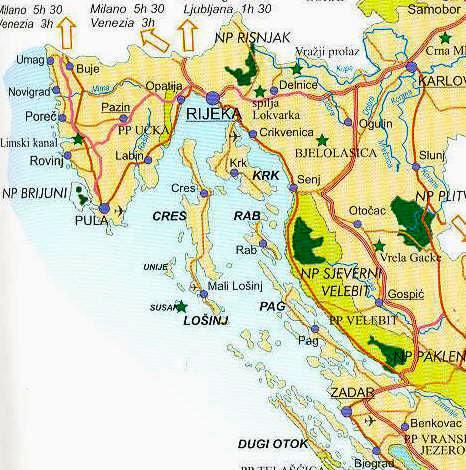 Kaart Van Noord Oostelijke Deel Van Kroatie Istrie Kvarner